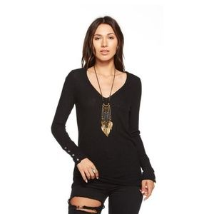 Chaser Waffle Thermal Long Sleeve Top Black Small